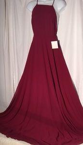 Lulu's Dress Red Wine SZ S Maxi flowing dress